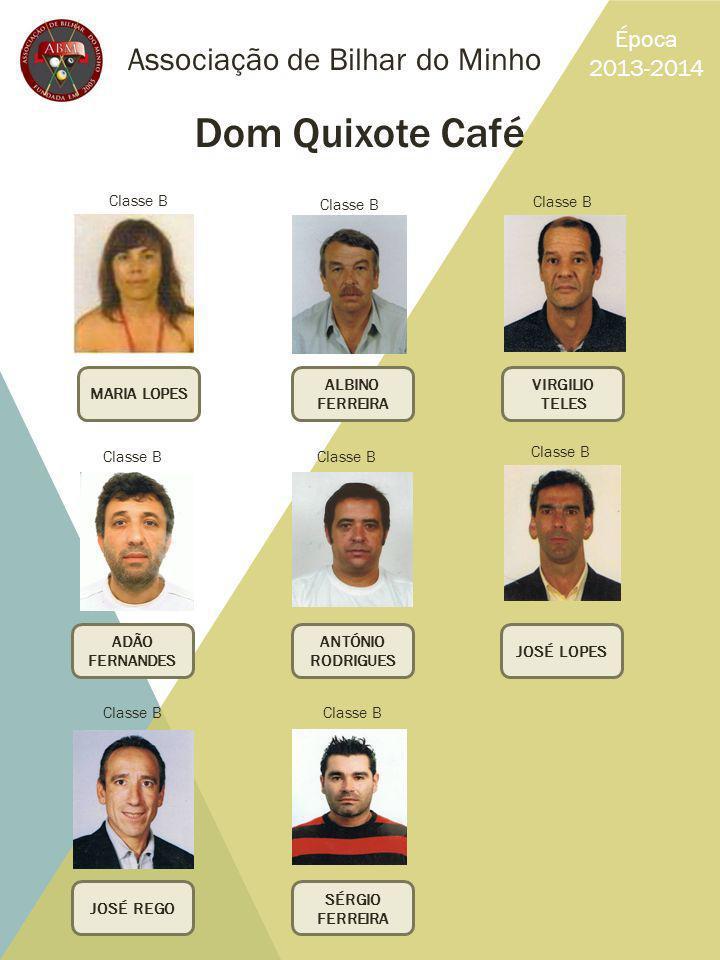 Associação de Bilhar do Minho Época 2013-2014 Dom Quixote Café MARIA LOPES VIRGILIO TELES ALBINO FERREIRA SÉRGIO FERREIRA JOSÉ REGO ADÃO FERNANDES JOS