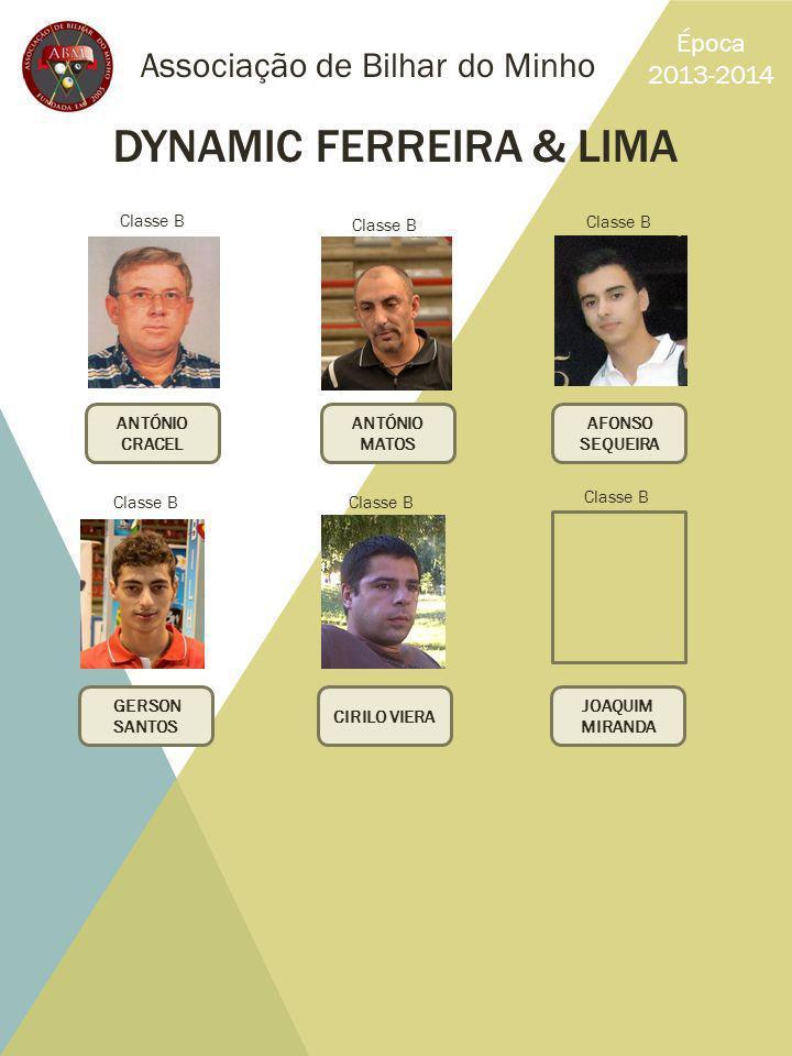Associação de Bilhar do Minho Época 2013-2014 DYNAMIC FERREIRA & LIMA ANTÓNIO CRACEL AFONSO SEQUEIRA ANTÓNIO MATOS GERSON SANTOS JOAQUIM MIRANDA CIRIL