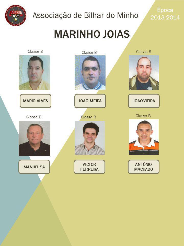 Associação de Bilhar do Minho Época 2013-2014 MARINHO JOIAS MÁRIO ALVESJOÃO VIEIRAJOÃO MEIRA MANUEL SÁ ANTÓNIO MACHADO VICTOR FERREIRA Classe B