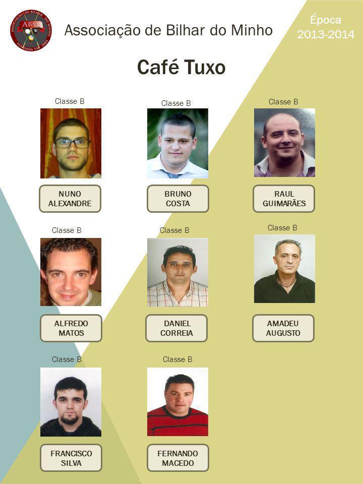 Associação de Bilhar do Minho Época 2013-2014 Café Tuxo NUNO ALEXANDRE RAUL GUIMARÃES BRUNO COSTA FERNANDO MACEDO FRANCISCO SILVA ALFREDO MATOS AMADEU