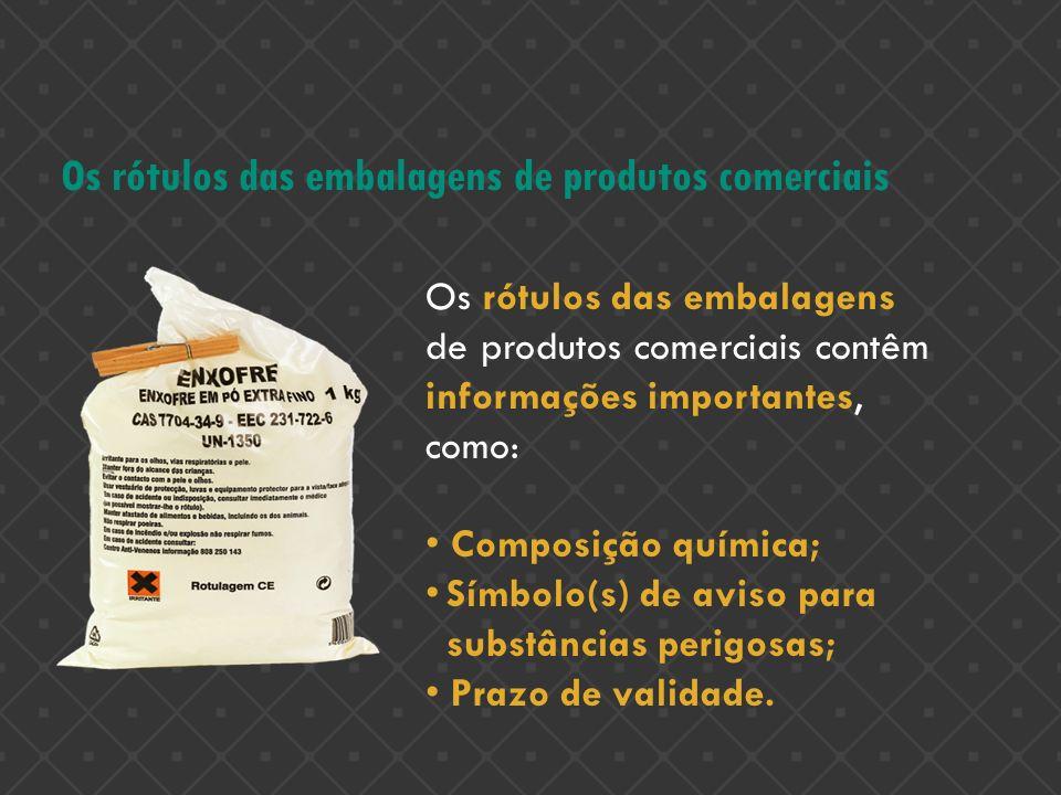 Os rótulos das embalagens de produtos comerciais Os rótulos das embalagens de produtos comerciais contêm informações importantes, como: Composição quí