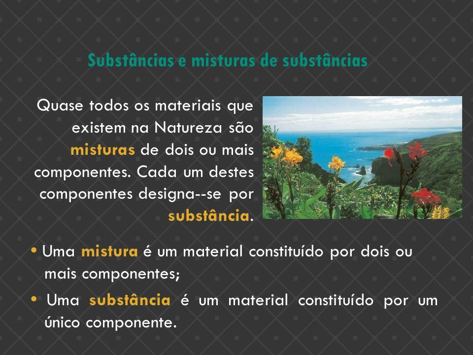 Substâncias e misturas de substâncias Quase todos os materiais que existem na Natureza são misturas de dois ou mais componentes. Cada um destes compon