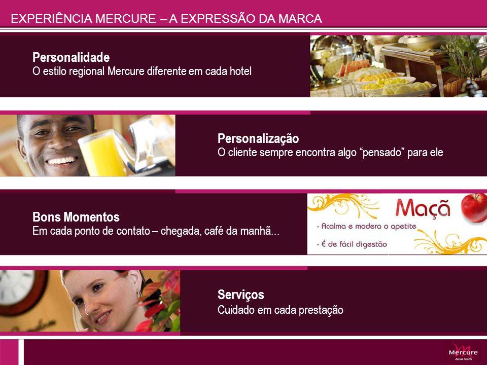 EXPERIÊNCIA MERCURE – A EXPRESSÃO DA MARCA Serviços Cuidado em cada prestação Personalidade O estilo regional Mercure diferente em cada hotel Personal