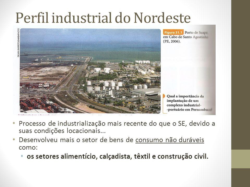 Perfil industrial do Nordeste Processo de industrialização mais recente do que o SE, devido a suas condições locacionais... Desenvolveu mais o setor d
