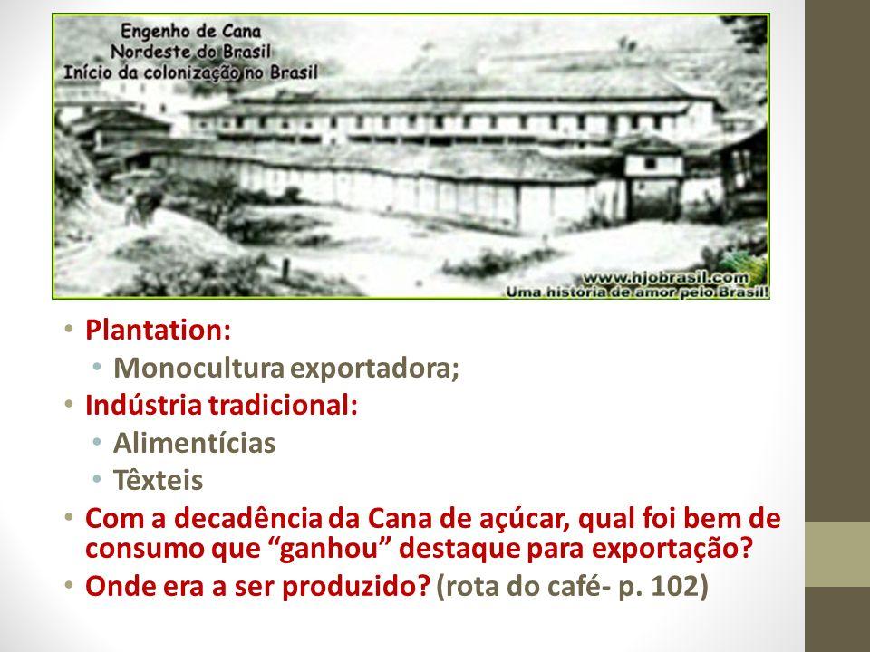 Plantation: Monocultura exportadora; Indústria tradicional: Alimentícias Têxteis Com a decadência da Cana de açúcar, qual foi bem de consumo que ganho