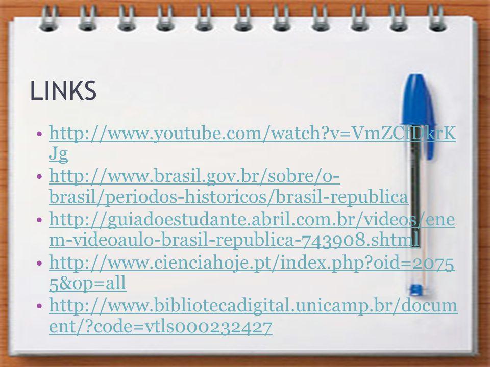 LINKS http://www.youtube.com/watch?v=VmZCfDkrK Jghttp://www.youtube.com/watch?v=VmZCfDkrK Jg http://www.brasil.gov.br/sobre/o- brasil/periodos-histori