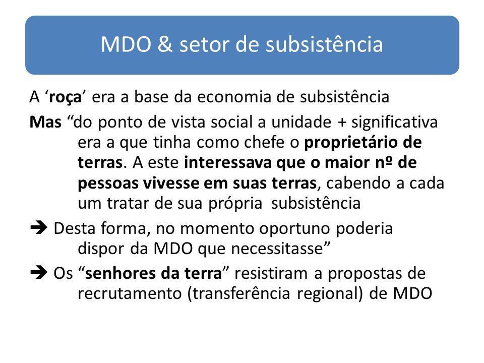 MDO & setor de subsistência A roça era a base da economia de subsistência Mas do ponto de vista social a unidade + significativa era a que tinha como