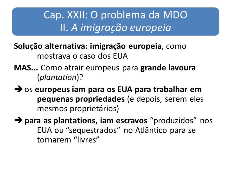 Cap. XXII: O problema da MDO II. A imigração europeia Solução alternativa: imigração europeia, como mostrava o caso dos EUA MAS... Como atrair europeu
