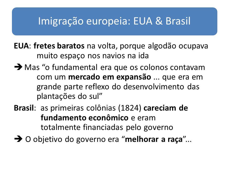 Imigração europeia: EUA & Brasil EUA: fretes baratos na volta, porque algodão ocupava muito espaço nos navios na ida Mas o fundamental era que os colo