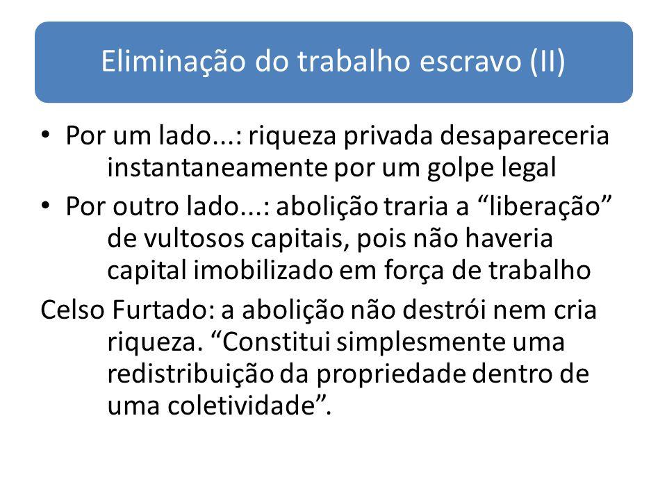 Eliminação do trabalho escravo (II) Por um lado...: riqueza privada desapareceria instantaneamente por um golpe legal Por outro lado...: abolição trar