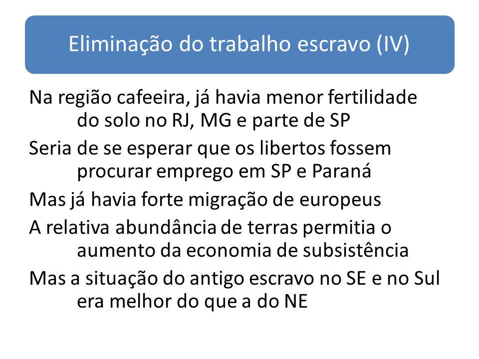 Eliminação do trabalho escravo (IV) Na região cafeeira, já havia menor fertilidade do solo no RJ, MG e parte de SP Seria de se esperar que os libertos