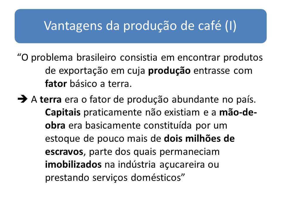 Empresa cafeeira versus empresa açucareira (I) Empresa cafeeira: utilização intensiva de MDO escrava, tal qual açucareira.