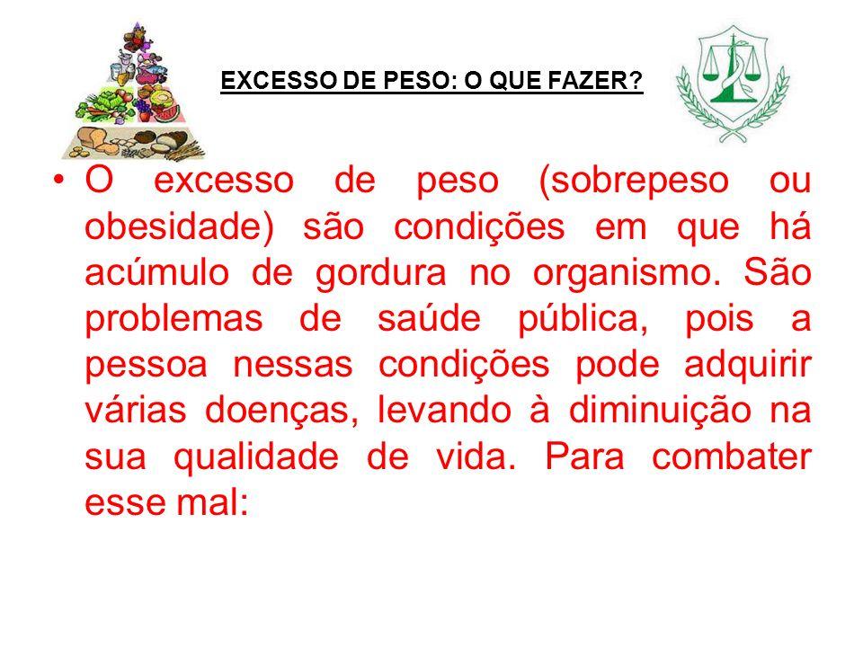 EXCESSO DE PESO: O QUE FAZER? O excesso de peso (sobrepeso ou obesidade) são condições em que há acúmulo de gordura no organismo. São problemas de saú