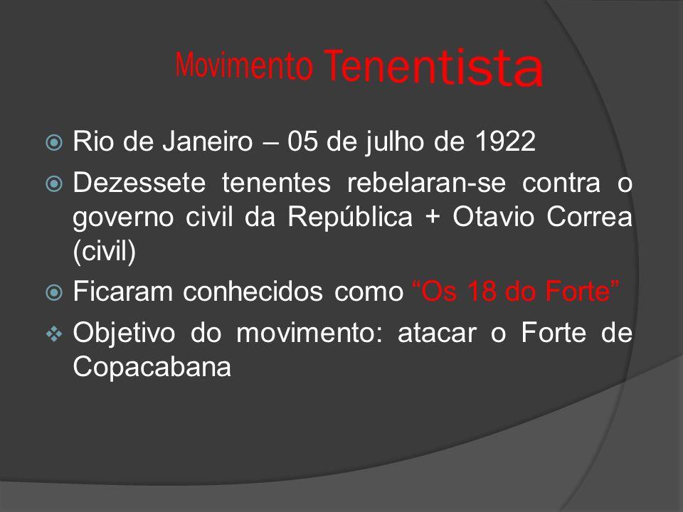 Rio de Janeiro – 05 de julho de 1922 Dezessete tenentes rebelaran-se contra o governo civil da República + Otavio Correa (civil) Ficaram conhecidos como Os 18 do Forte Objetivo do movimento: atacar o Forte de Copacabana