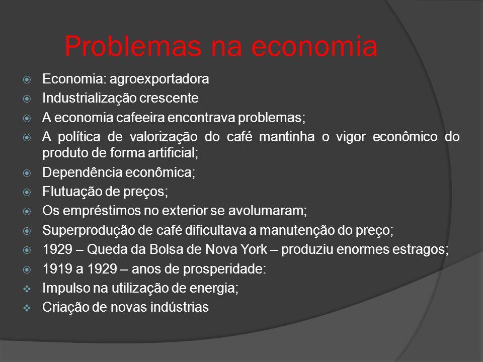 Problemas na economia Economia: agroexportadora Industrialização crescente A economia cafeeira encontrava problemas; A política de valorização do café