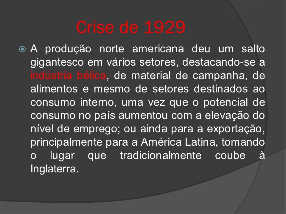 Crise de 1929 A produção norte americana deu um salto gigantesco em vários setores, destacando-se a indústria bélica, de material de campanha, de alim
