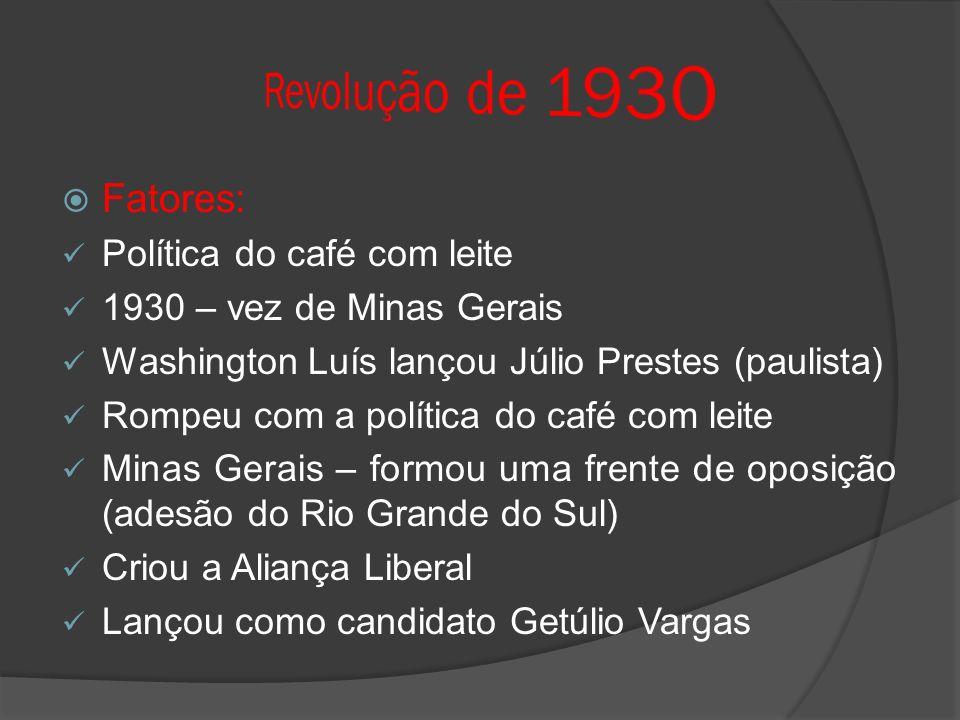 Fatores: Política do café com leite 1930 – vez de Minas Gerais Washington Luís lançou Júlio Prestes (paulista) Rompeu com a política do café com leite Minas Gerais – formou uma frente de oposição (adesão do Rio Grande do Sul) Criou a Aliança Liberal Lançou como candidato Getúlio Vargas