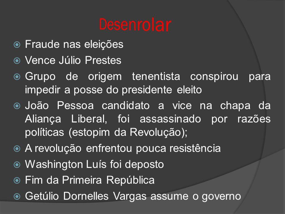 Fraude nas eleições Vence Júlio Prestes Grupo de origem tenentista conspirou para impedir a posse do presidente eleito João Pessoa candidato a vice na
