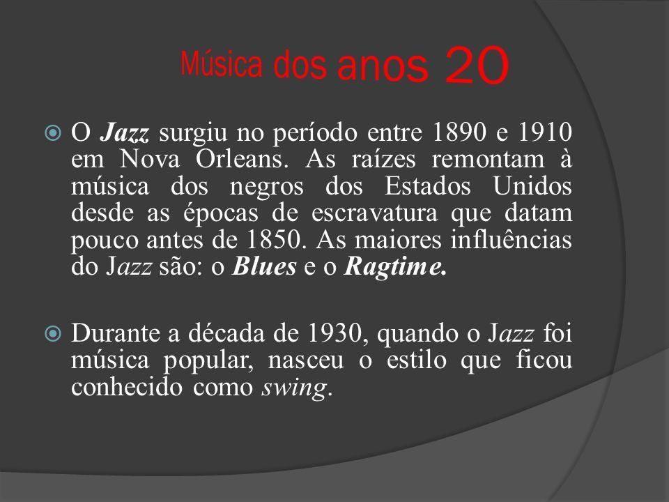 O Jazz surgiu no período entre 1890 e 1910 em Nova Orleans. As raízes remontam à música dos negros dos Estados Unidos desde as épocas de escravatura q