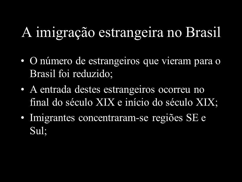 A imigração estrangeira no Brasil O número de estrangeiros que vieram para o Brasil foi reduzido; A entrada destes estrangeiros ocorreu no final do sé