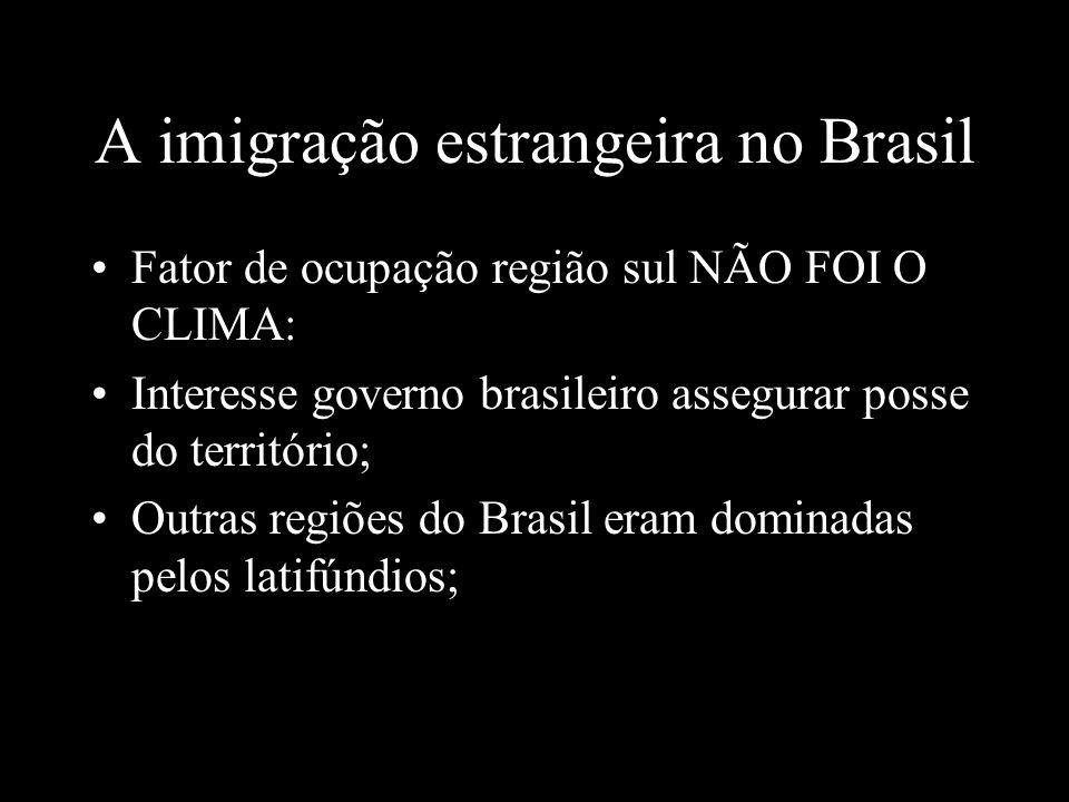A imigração estrangeira no Brasil Fator de ocupação região sul NÃO FOI O CLIMA: Interesse governo brasileiro assegurar posse do território; Outras reg