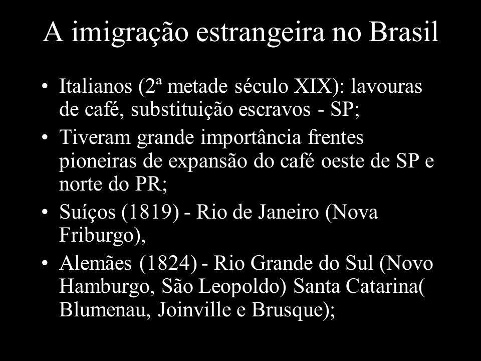 A imigração estrangeira no Brasil Italianos (2ª metade século XIX): lavouras de café, substituição escravos - SP; Tiveram grande importância frentes p