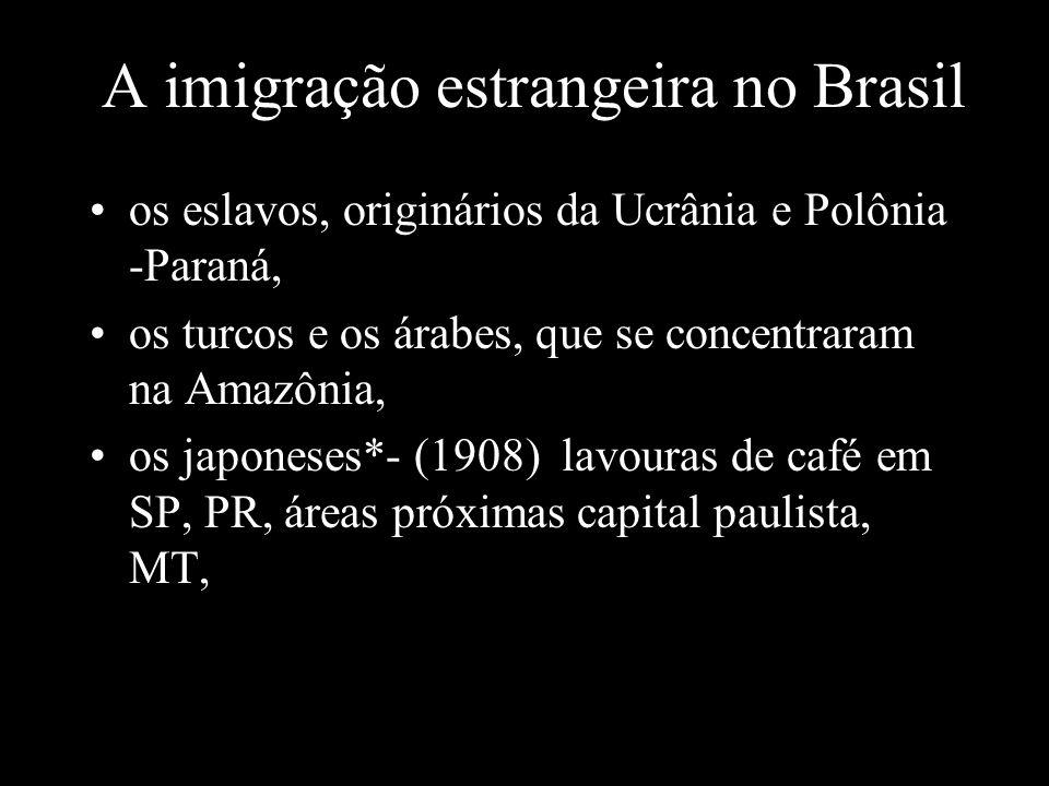 A imigração estrangeira no Brasil os eslavos, originários da Ucrânia e Polônia -Paraná, os turcos e os árabes, que se concentraram na Amazônia, os jap
