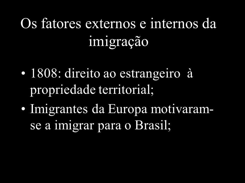 Os fatores externos e internos da imigração 1808: direito ao estrangeiro à propriedade territorial; Imigrantes da Europa motivaram- se a imigrar para