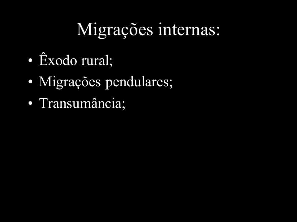 Migrações internas: Êxodo rural; Migrações pendulares; Transumância;