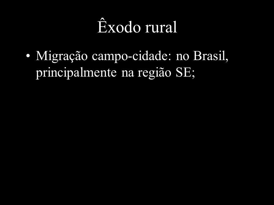 Êxodo rural Migração campo-cidade: no Brasil, principalmente na região SE;
