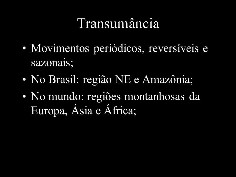Transumância Movimentos periódicos, reversíveis e sazonais; No Brasil: região NE e Amazônia; No mundo: regiões montanhosas da Europa, Ásia e África;