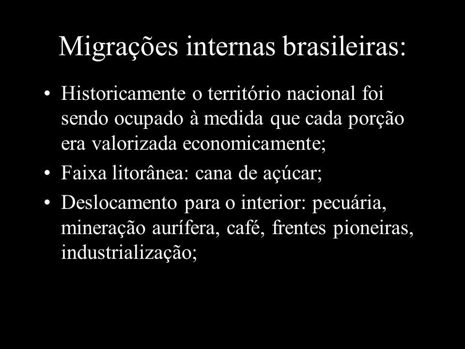 Migrações internas brasileiras: Historicamente o território nacional foi sendo ocupado à medida que cada porção era valorizada economicamente; Faixa l