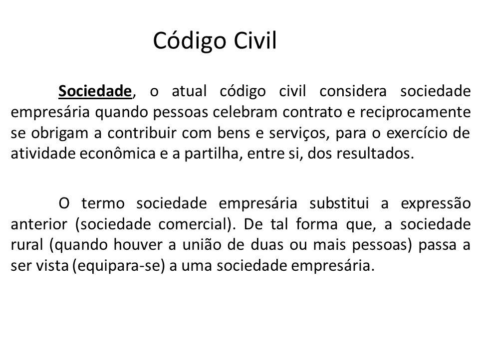 Código Civil Sociedade, o atual código civil considera sociedade empresária quando pessoas celebram contrato e reciprocamente se obrigam a contribuir com bens e serviços, para o exercício de atividade econômica e a partilha, entre si, dos resultados.