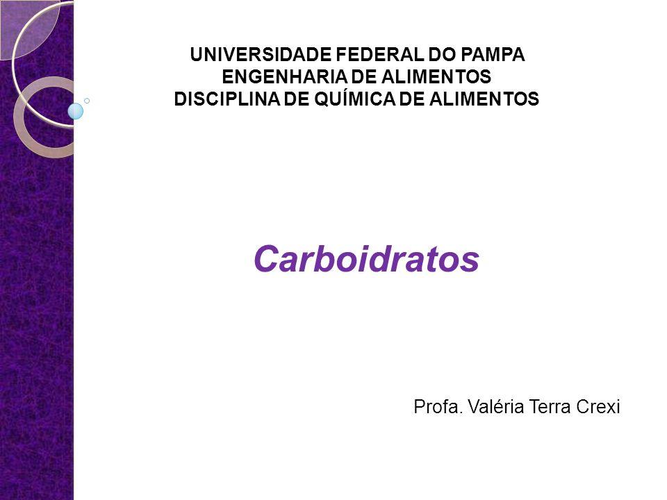 UNIVERSIDADE FEDERAL DO PAMPA ENGENHARIA DE ALIMENTOS DISCIPLINA DE QUÍMICA DE ALIMENTOS Carboidratos Profa. Valéria Terra Crexi