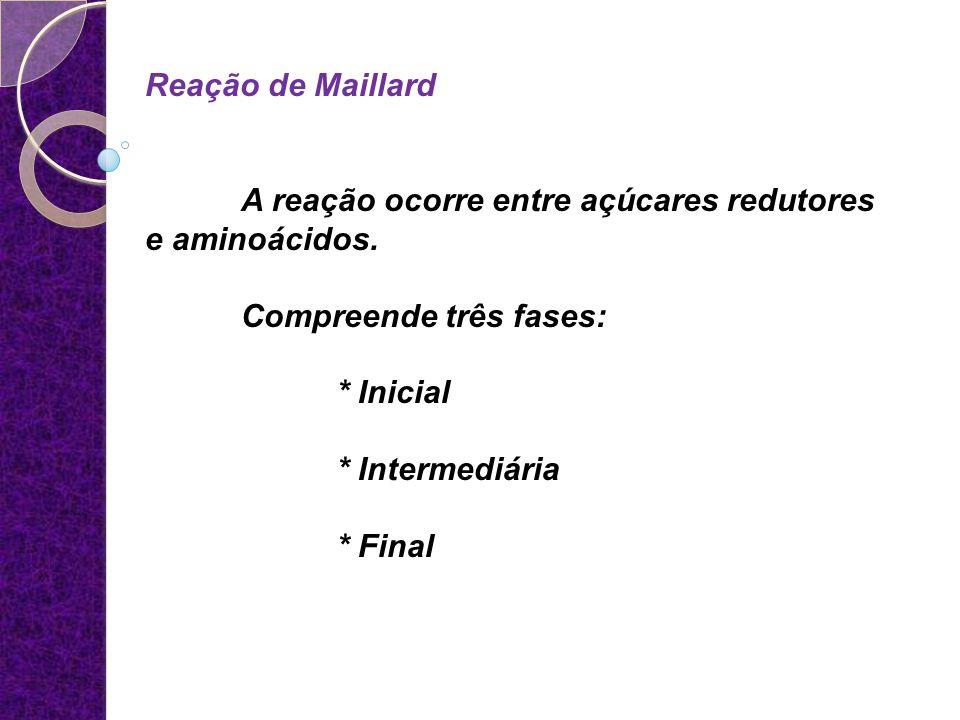 Reação de Maillard A reação ocorre entre açúcares redutores e aminoácidos. Compreende três fases: * Inicial * Intermediária * Final
