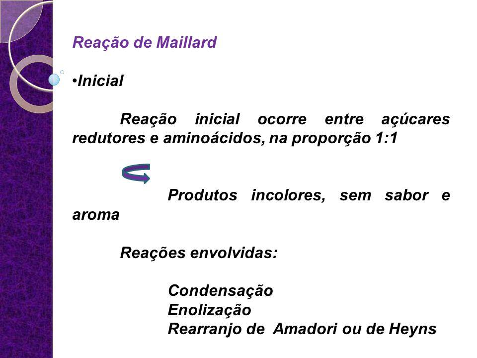 Reação de Maillard Inicial Reação inicial ocorre entre açúcares redutores e aminoácidos, na proporção 1:1 Produtos incolores, sem sabor e aroma Reaçõe