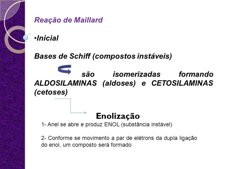 Reação de Maillard Inicial Bases de Schiff (compostos instáveis) são isomerizadas formando ALDOSILAMINAS (aldoses) e CETOSILAMINAS (cetoses) 1- Anel s