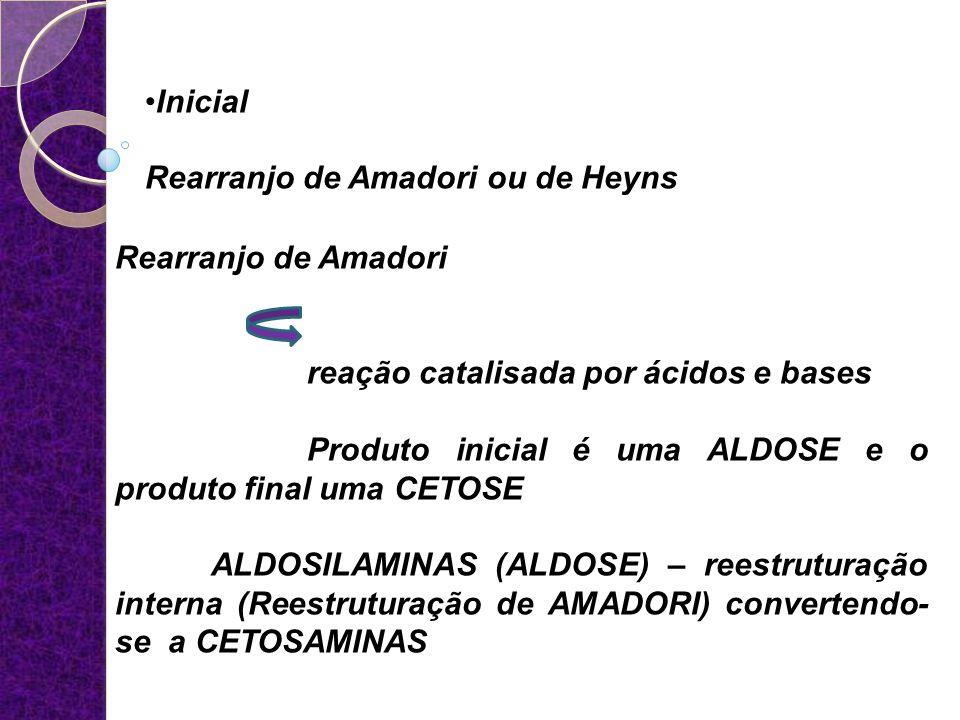 Inicial Rearranjo de Amadori ou de Heyns Rearranjo de Amadori reação catalisada por ácidos e bases Produto inicial é uma ALDOSE e o produto final uma