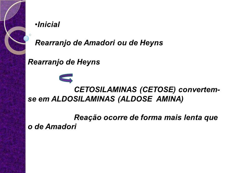 Inicial Rearranjo de Amadori ou de Heyns Rearranjo de Heyns CETOSILAMINAS (CETOSE) convertem- se em ALDOSILAMINAS (ALDOSE AMINA) Reação ocorre de form