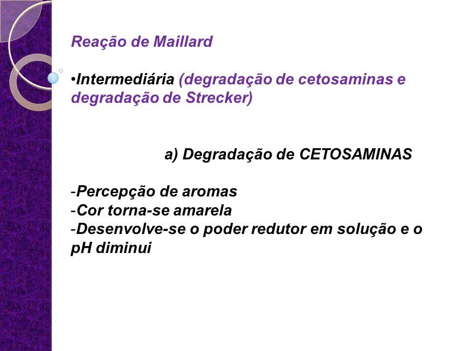 Reação de Maillard Intermediária (degradação de cetosaminas e degradação de Strecker) a) Degradação de CETOSAMINAS -Percepção de aromas -Cor torna-se
