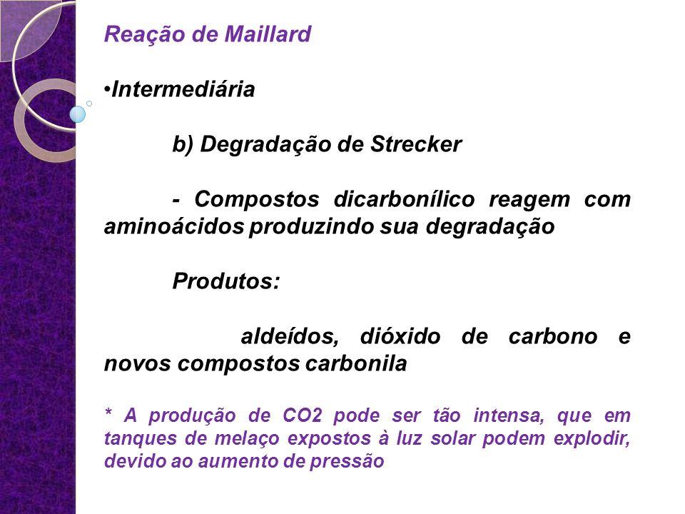 Reação de Maillard Intermediária b) Degradação de Strecker - Compostos dicarbonílico reagem com aminoácidos produzindo sua degradação Produtos: aldeíd