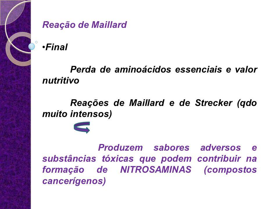 Reação de Maillard Final Perda de aminoácidos essenciais e valor nutritivo Reações de Maillard e de Strecker (qdo muito intensos) Produzem sabores adv