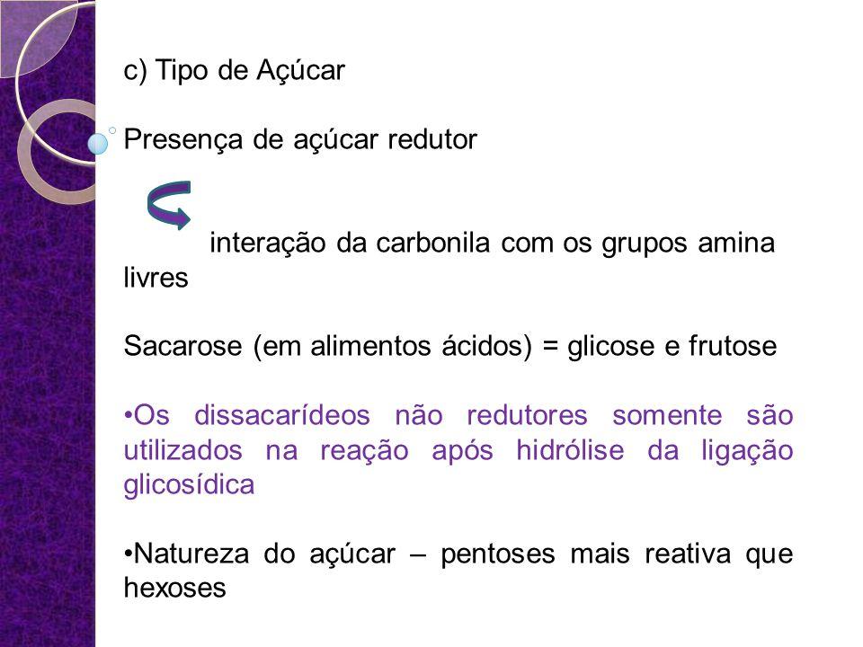c) Tipo de Açúcar Presença de açúcar redutor interação da carbonila com os grupos amina livres Sacarose (em alimentos ácidos) = glicose e frutose Os d