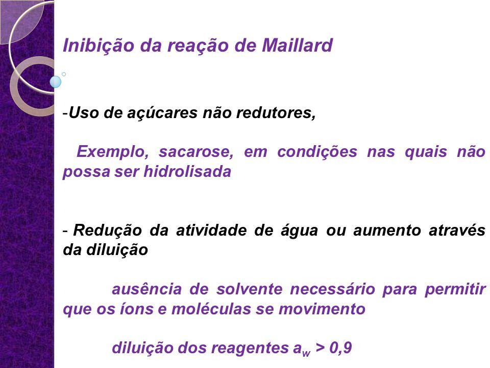 Inibição da reação de Maillard -Uso de açúcares não redutores, Exemplo, sacarose, em condições nas quais não possa ser hidrolisada - Redução da ativid