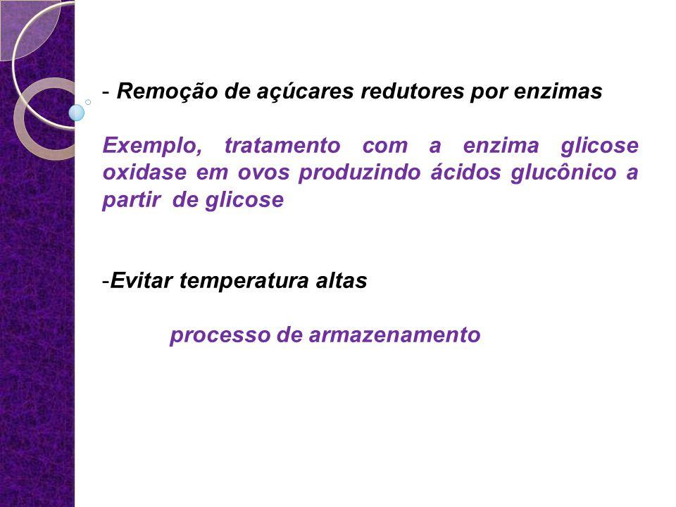 - Remoção de açúcares redutores por enzimas Exemplo, tratamento com a enzima glicose oxidase em ovos produzindo ácidos glucônico a partir de glicose -
