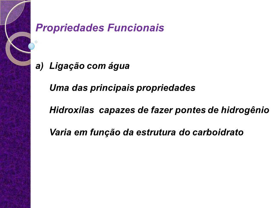 Propriedades Funcionais a)Ligação com água Uma das principais propriedades Hidroxilas capazes de fazer pontes de hidrogênio Varia em função da estrutu
