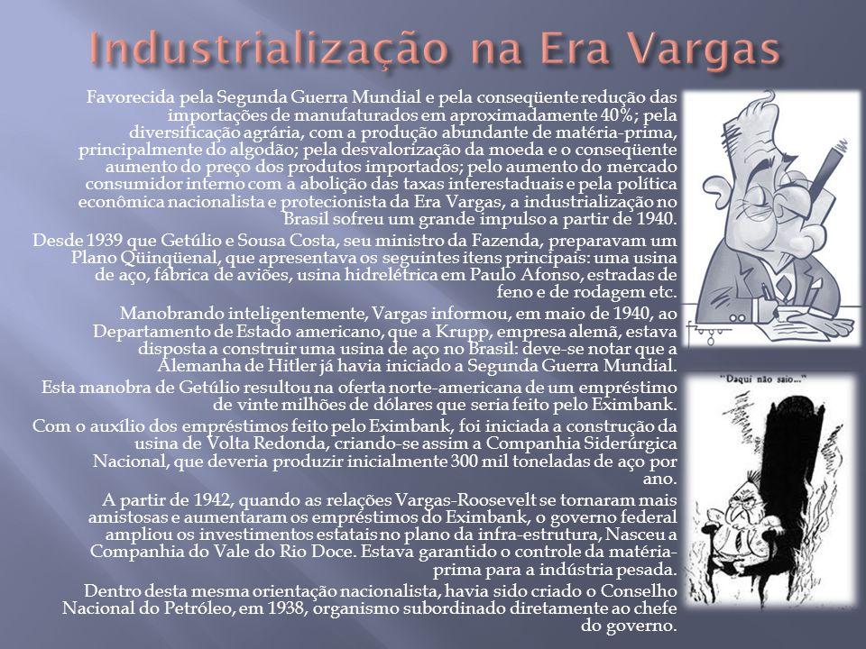 Favorecida pela Segunda Guerra Mundial e pela conseqüente redução das importações de manufaturados em aproximadamente 40%; pela diversificação agrária