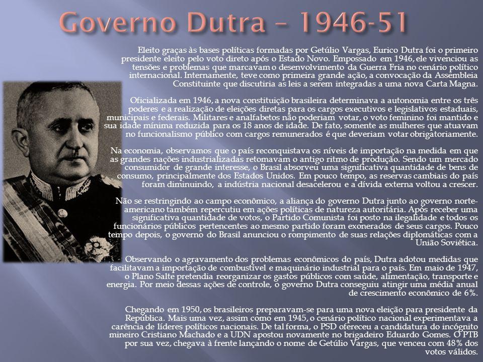 Eleito graças às bases políticas formadas por Getúlio Vargas, Eurico Dutra foi o primeiro presidente eleito pelo voto direto após o Estado Novo. Empos