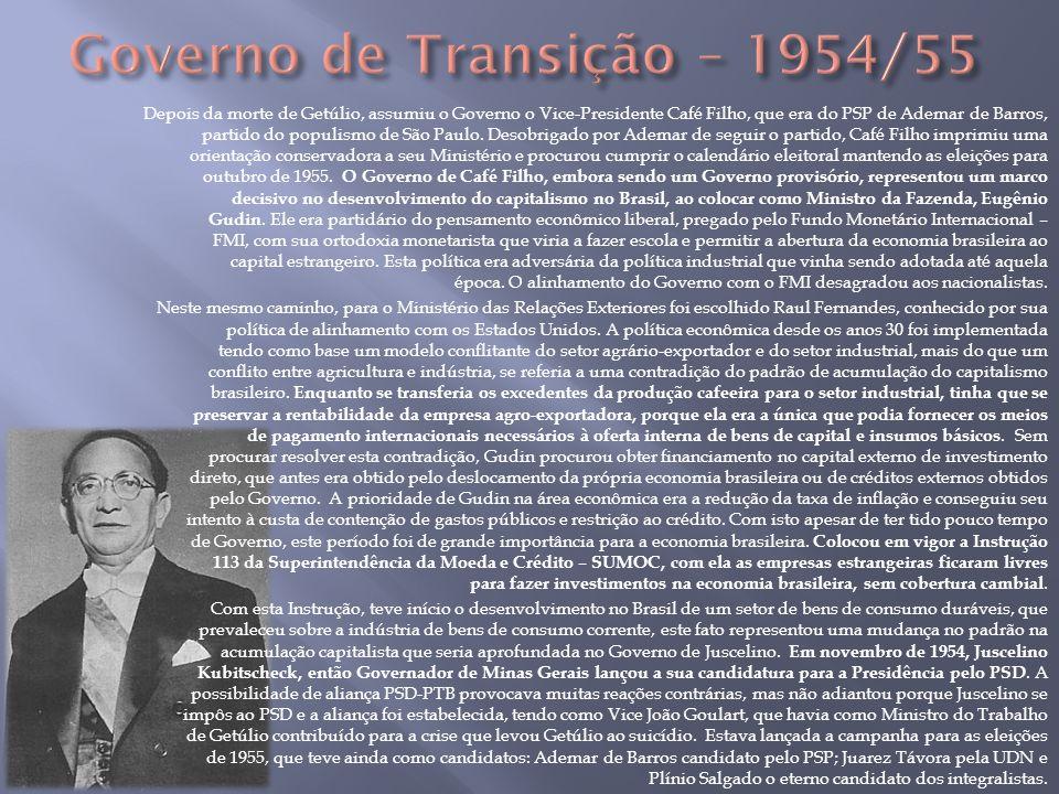 Depois da morte de Getúlio, assumiu o Governo o Vice-Presidente Café Filho, que era do PSP de Ademar de Barros, partido do populismo de São Paulo. Des