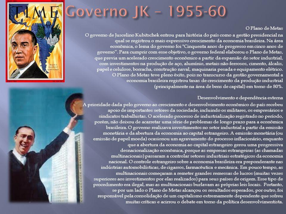 O Plano de Metas O governo de Juscelino Kubitschek entrou para história do país como a gestão presidencial na qual se registrou o mais expressivo cres